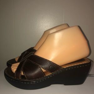 Born brown leather wedge sandals perfect condition